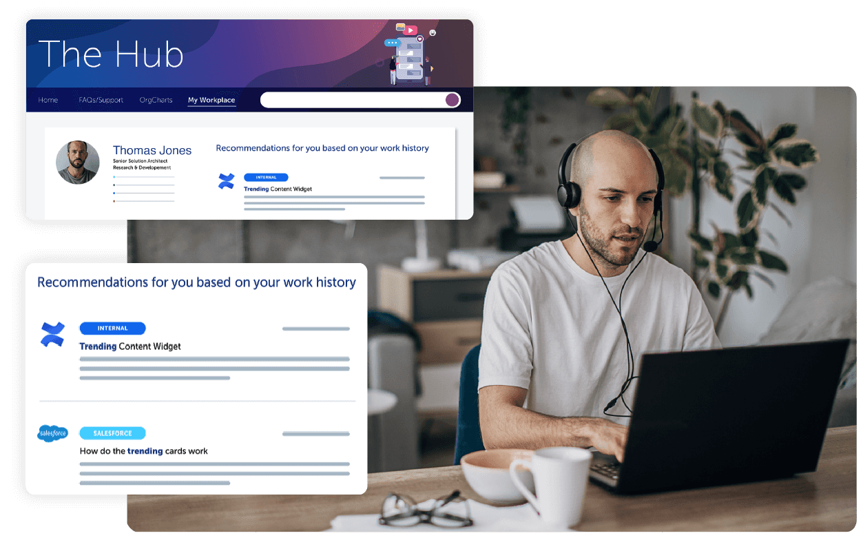 A screenshot of digital workplace solution portals.